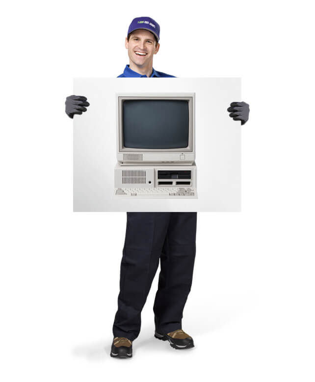 Uniformed TOM ready to haul your old printers