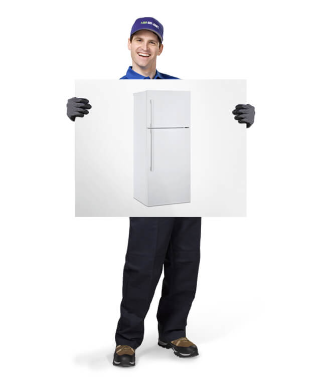 Truck team member holding photo of a refrigerator