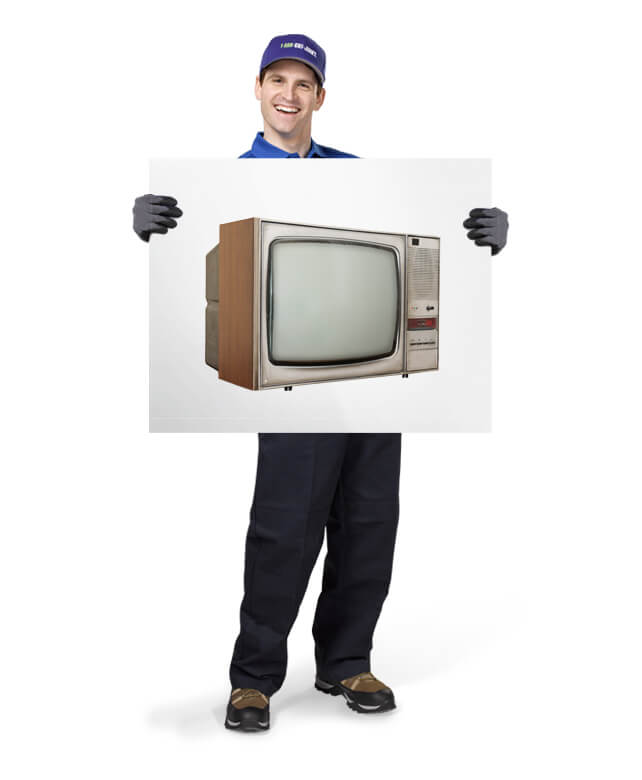 Uniformed TOM ready to remove & dispose of your old televisions
